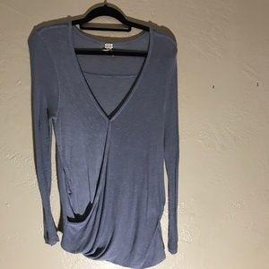Free People Blue V Neck Light Sweater